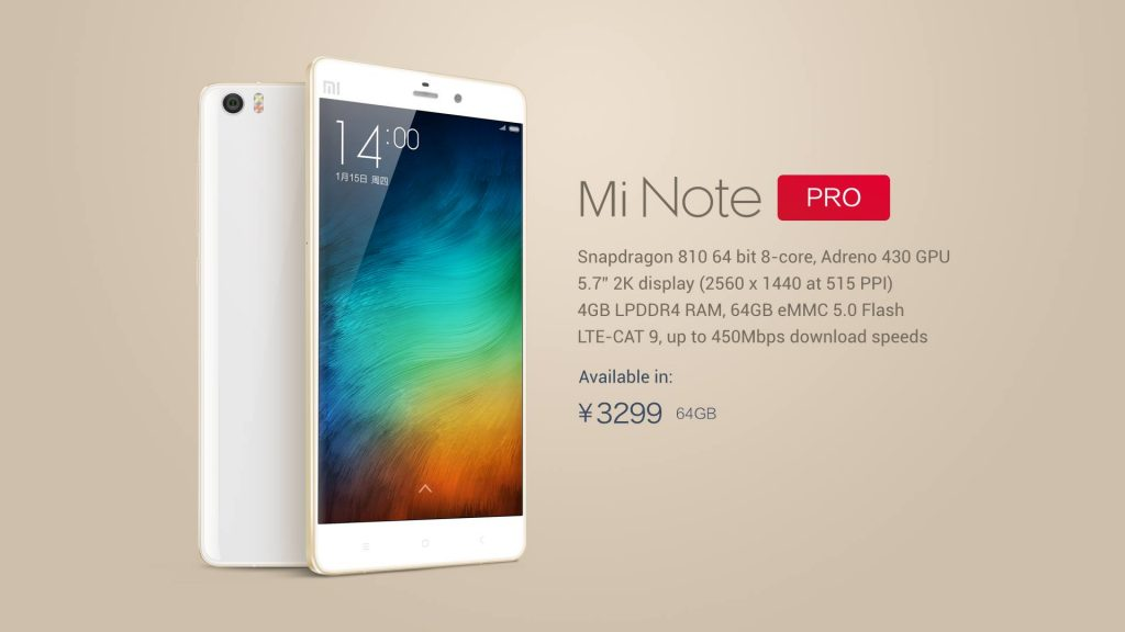 xiaomi mi note pro specs and looks