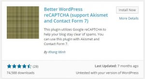 recaptcha plugin for wordpress