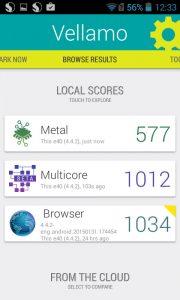 Vellamo metal score of ufone u5a