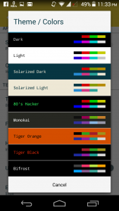 Theme and color scheme settings of Android ssh client