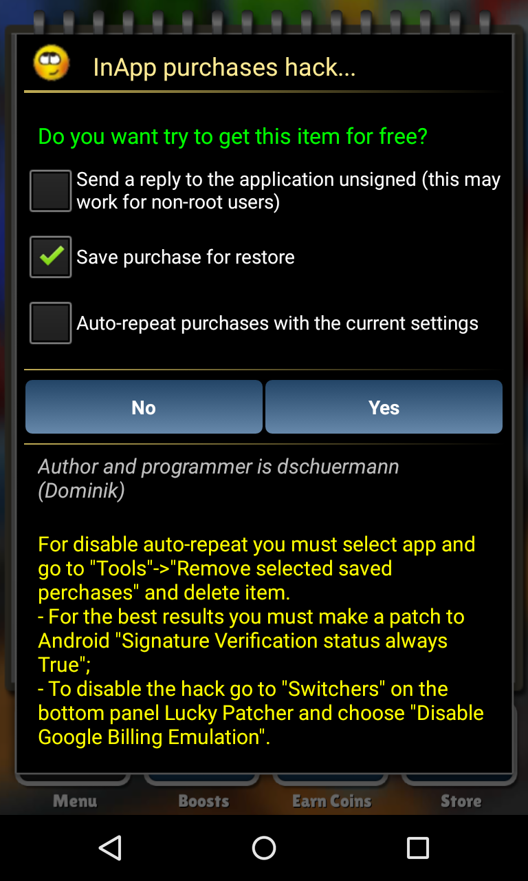 hack in game purchase android