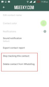 delete contact- whatsdog